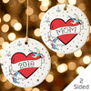 Personalized Tattoo Heart Christmas Ornament Red