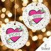 Personalized Tattoo Heart Christmas Ornament Pink