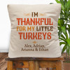 Personalized Little Turkeys Throw Pillow Cover