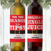 Naughty Or Nice Custom Christmas Wine Labels - Personalized Santa Belt Holiday Wine Sticker Set