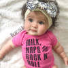 Milk, Naps, and Rock N Roll Baby Shirt Pink