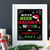 Printable We've Been Naughty Due Date Christmas Pregnancy Announcement Sign (Editable - Instant Download!)