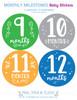 Monthly Milestone Baby Stickers: Beachy Blues