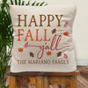 Personalized Happy Fall Y'all Throw Pillow Cover