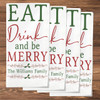 Personalized Eat Drink & Be Merry Christmas Napkin Set