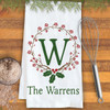Personalized Holiday Holly Monogrammed Kitchen Towel