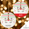 Personalized Christmas Ornament: Magical Holiday Unicorn