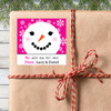 Personalized Pink Snowbabe Holiday Gift Stickers