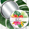 Personalized Modern Tropical Floral Pocket Mirror