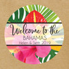 Personalized Wedding Favor Stickers: Modern Tropical Floral