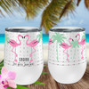 Personalized Flirty Flamingo Wine Tumbler
