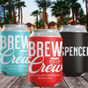 Custom Can Cooler: Brew Crew Beer Bachelor or Birthday Party Favor