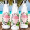 Personalized Modern Tropical Stainless Steel Water Bottle: Flamingo