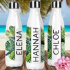 Personalized Tropical Leaves Stainless Steel Water Bottle