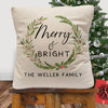 Personalized Merry & Bright Christmas Throw Pillow Cover