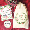 Personalized Merry & Bright Bridal Party Proposal Ornament Set
