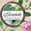 Personalized Tropical Leaves Rose Gold Compact Mirror