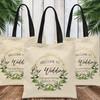 Custom Tote Bags: Gold & Greenery Welcome