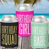 Colored Can Coolers: Birthday Squad
