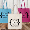 Custom Logo: Colored Canvas Tote Bag (Black Print Only)
