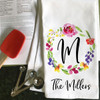 Personalized Watercolor Floral Monogrammed Kitchen Towel