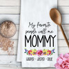 Personalized My Favorite People Watercolor Floral Kitchen Towel - Gift for Mom, Grandma, Oma, Nana, Bubbie