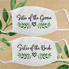 Greenery Wedding Leaf Heart Bridal Party Cloth Face Masks - Sister of the Bride and Sister of the Groom
