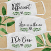 Greenery Wedding Leaf Heart Bridal Party Cloth Face Masks - Officiant, Love is in the Air Wedding Guest Mask, I Do Crew
