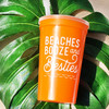 Beaches Booze & Besties Party Tumblers - Bachelorette Stadium Cups with Straws