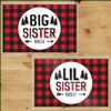 Personalized Perfectly Plaid Big Sister and Little Sister  Laminated Placemat