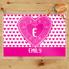 Personalized Lace Heart Laminated Valentines Day Placemat