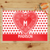Personalized Lace Heart Laminated Placemat