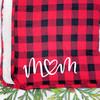 Monogrammed Plaid True Love Sherpa Throw Blanket in Red Buffalo Plaid