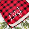 Custom Plaid True Love Sherpa Throw Blanket in Red Buffalo Plaid