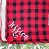 Personalized Plaid Script Heart Sherpa Throw Blanket