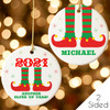 Personalized 2021 Is Elfed Up Christmas Ornament - Customized Aluminum Tree Ornament with Red, Green and Yellow Elf Feet Design