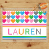 Personalized Multi Hearts Laminated Placemat - Rainbow Valentines Day Placemat for Girls