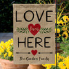 Personalized Love Lives Here Heart Burlap Garden Flag - Valentines Day Home & Outdoor Decor for Yard