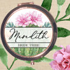 Personalized Bridal Party Gift - Rose Gold Compact Mirror: Desert Floral Cactus & Succulents