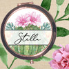 Personalized Rose Gold Compact Mirror: Desert Floral Cactus & Succulents