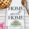 Personalized Floral Succulent Cactus Flower Tea Towel - Home Sweet Home