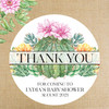 "Personalized Baby Shower Favor Labels - Succulent + Cactus Floral Theme Party - 2"", 2.5"" and 3"" Round Favor Stickers"