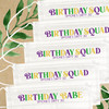 Multicolor Birthday Squad Disposable Face Masks  - Womens Birthday Masks for New Orleans Trip + Mardi Gras Party
