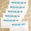 Multicolor Birthday Squad Disposable Face Masks  - Blue Womens Birthday Masks for Nautical Boat Party