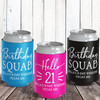 Custom Hello Birthday Squad Can Coolers - Personalized 21st Birthday Colored Can Cozy