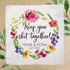 Watercolor Floral Custom Wedding Favor Handkerchiefs - Keep Your Shit Together