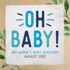 Oh Baby! Custom Baby Shower Favor Handkerchiefs - Boy Baby Shower Design in Navy, Turquoise Aqua, and Bright Sky Blue