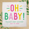 Oh Baby! Custom Baby Shower Favor Handkerchiefs - Girl Baby Shower Design in Hot Pink, Pastel Pink, Yellow and Leaf Green