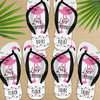 Personalized Deco Flamingo Flip Flops  - Custom Womens and Girls Sandals for Flamingle Birthday or Bachelorette Party