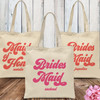 Retro Bridal Party Custom Tote Bags for Bridesmaids & Maid of Honor